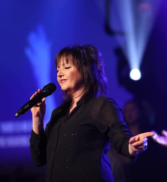 Karen Wheaton worshiping at the Ramp